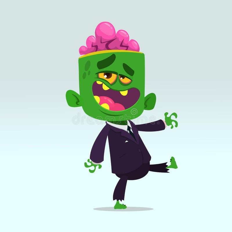 Vektortecknad filmbild av en rolig grön levande död med den stora head affärsdräkten som isoleras på ett ljus - grå bakgrund stock illustrationer