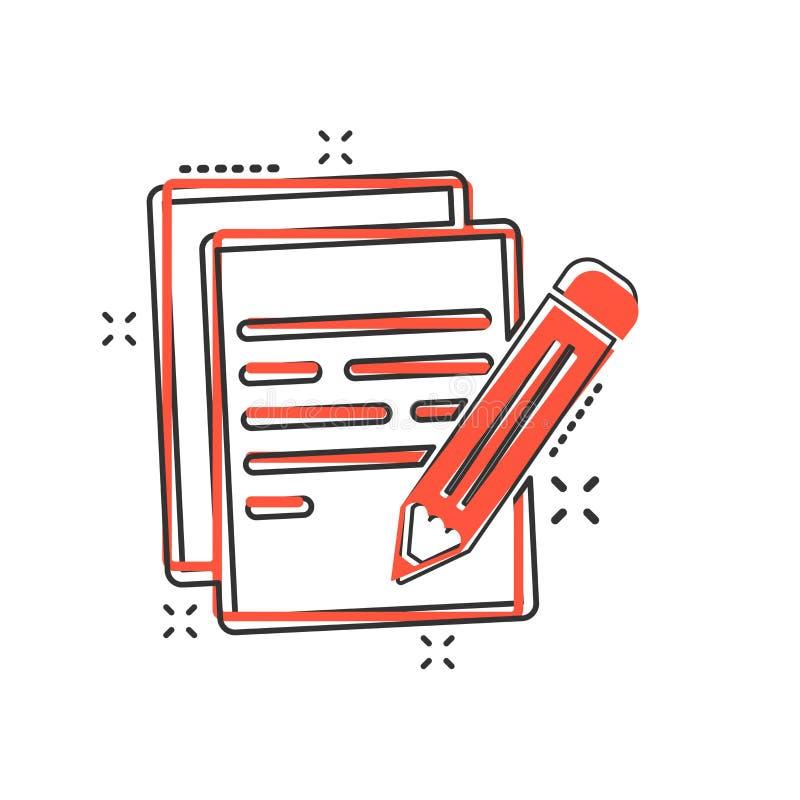 Vektortecknad filmdokument med blyertspennasymbolen i komisk stil Anmärkningswi vektor illustrationer