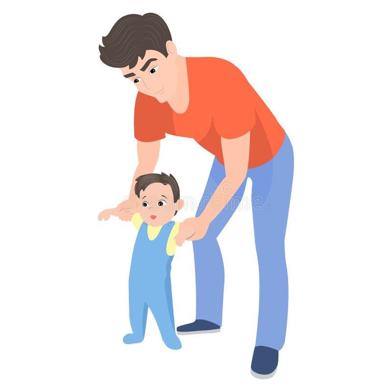 Vektortecknad filmfader som undervisar hans son att gå stock illustrationer