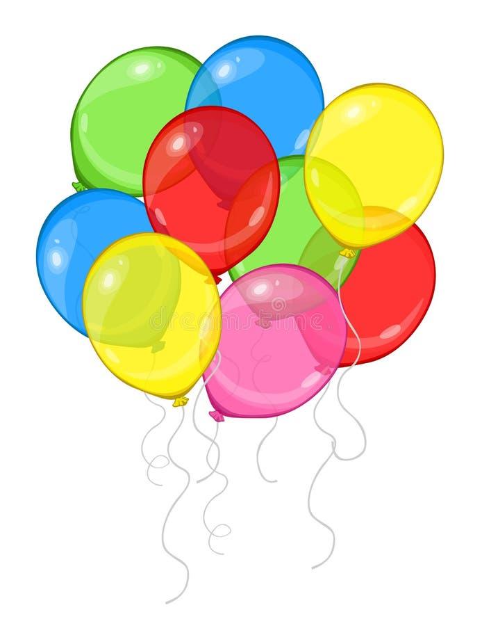 Vektortecknad filmgrupp av färgrika ballonger som isoleras på vit bakgrund vektor illustrationer