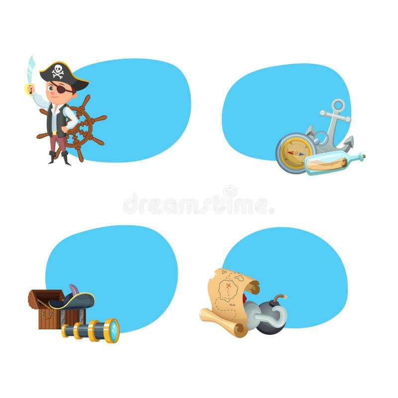 Vektortecknad filmhavet piratkopierar klistermärkear stock illustrationer