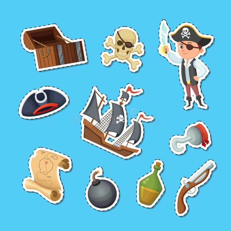 Vektortecknad filmhavet piratkopierar klistermärkear ställde in illustrationen stock illustrationer