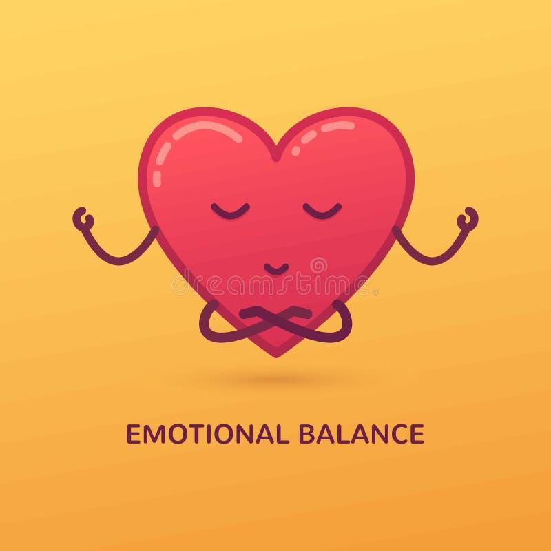 Vektortecknad filmillustration av att meditera hjärta Emotionellt jämviktskort royaltyfri illustrationer