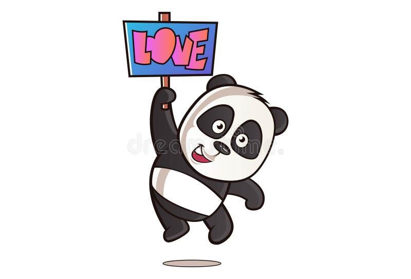 Vektortecknad filmillustration av den gulliga pandan stock illustrationer