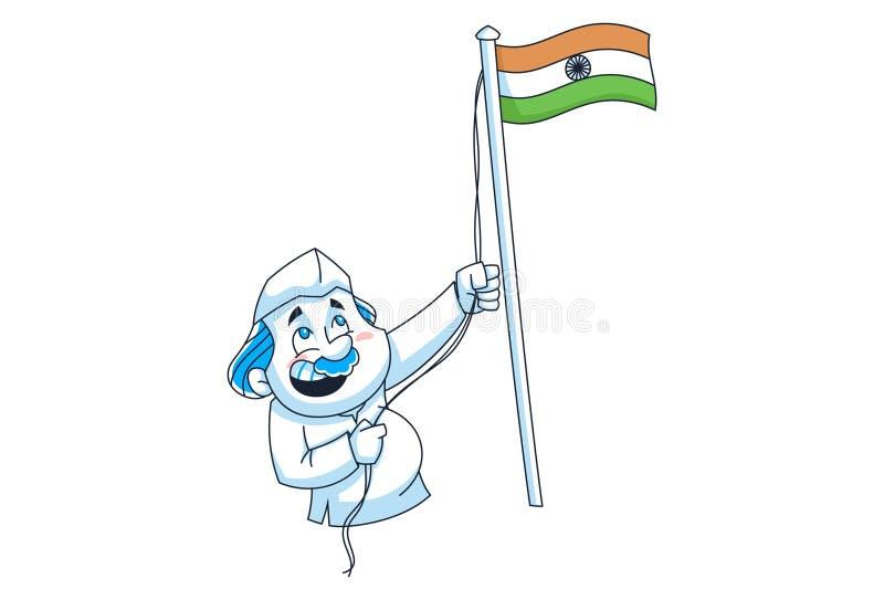 Vektortecknad filmillustration av den indiska politikern royaltyfri illustrationer