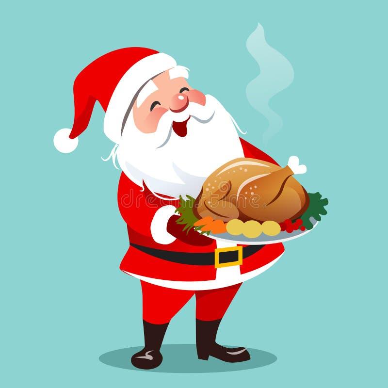 Vektortecknad filmillustration av den lyckliga le Santa Claus standinen stock illustrationer