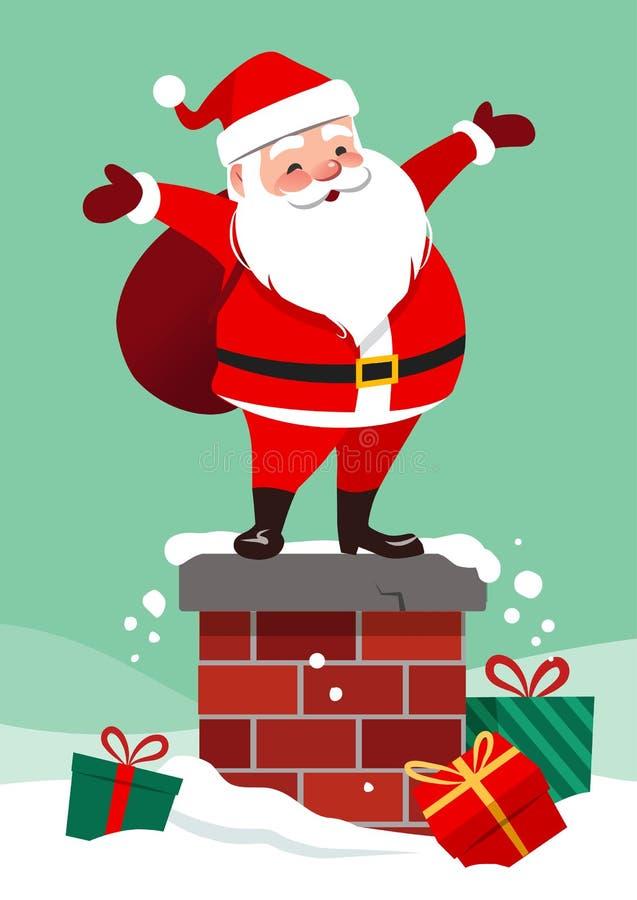 Vektortecknad filmillustration av det gulliga le Santa Claus anseendet royaltyfri illustrationer