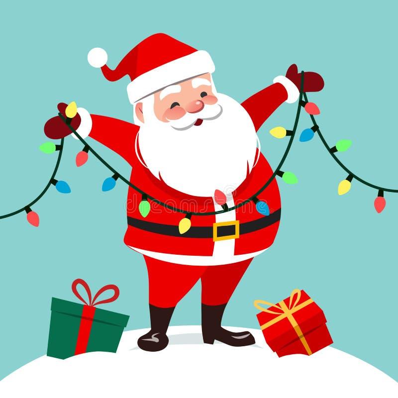 Vektortecknad filmillustration av det gulliga le Santa Claus anseendet vektor illustrationer