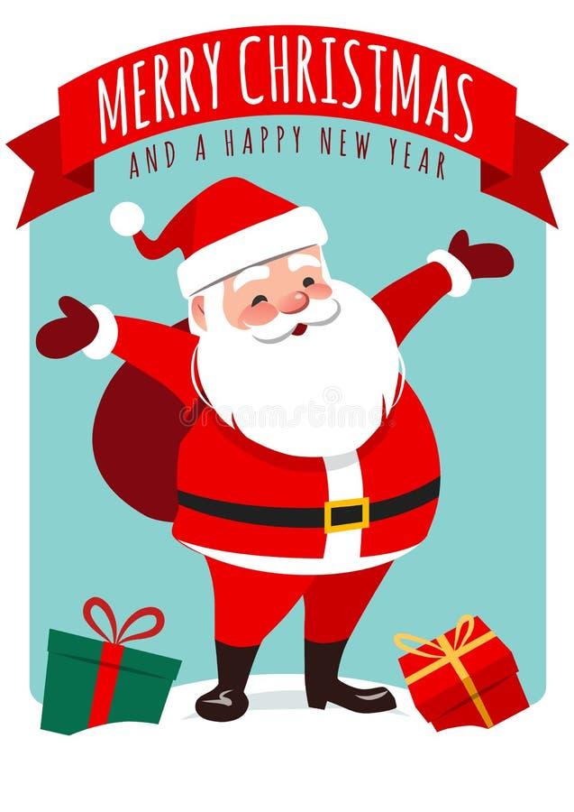 Vektortecknad filmillustration av det gulliga le Santa Claus anseendet stock illustrationer