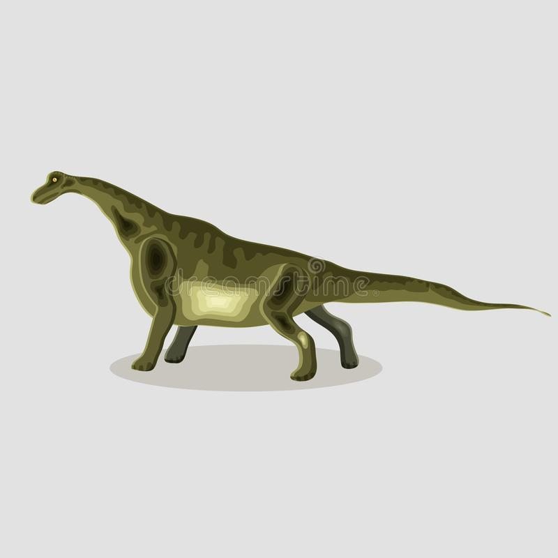 Vektortecknad filmillustration av en dinosaurie bronkial vektor illustrationer