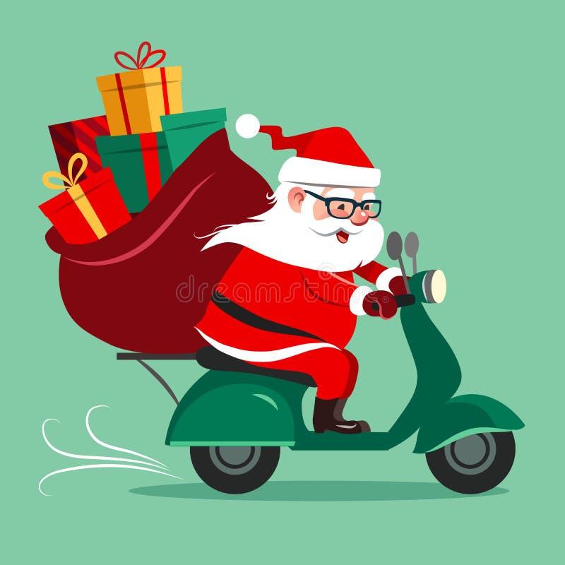Vektortecknad filmillustration av en gulliga lyckliga Santa Claus som rider a stock illustrationer