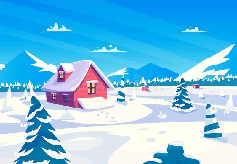 Vektortecknad filmillustration av en härlig snö royaltyfri illustrationer