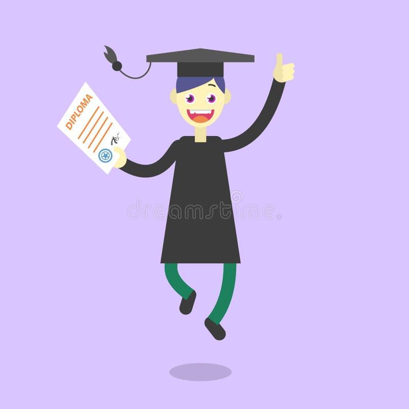 Vektortecknad filmillustration av en lycklig doktorand med diplomet i hand vektor illustrationer