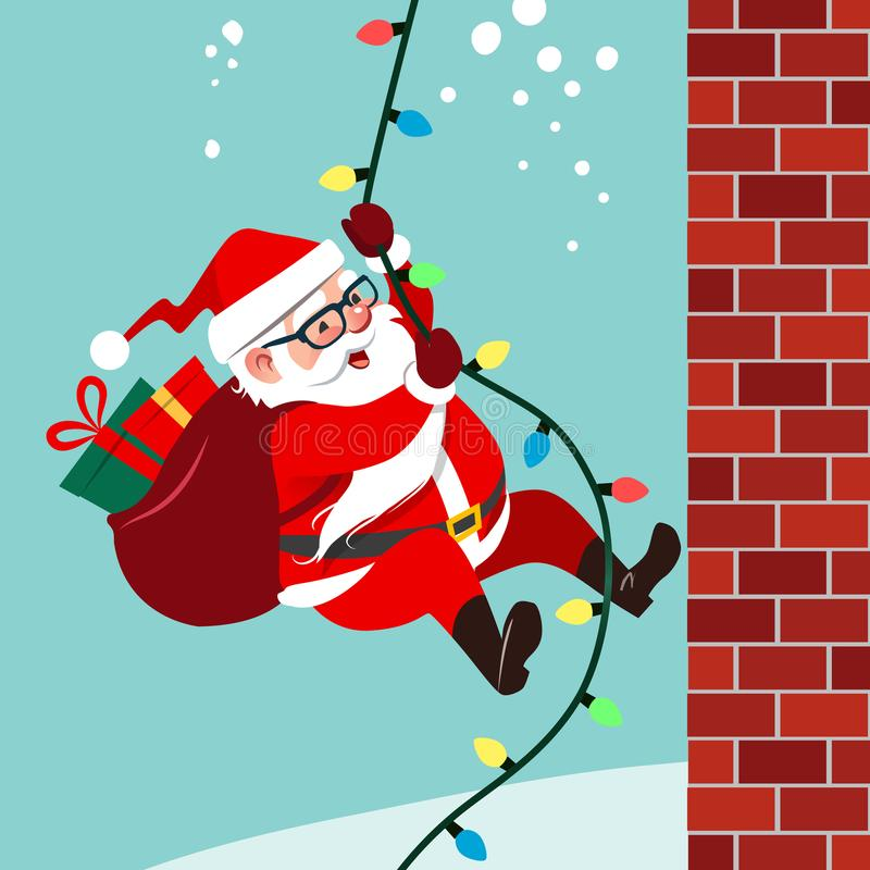 Vektortecknad filmillustration av gullig vänlig Santa Claus climbin royaltyfri illustrationer