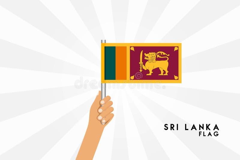 Vektortecknad filmillustrationen av mänskliga händer rymmer den Sri Lanka flaggan royaltyfri illustrationer