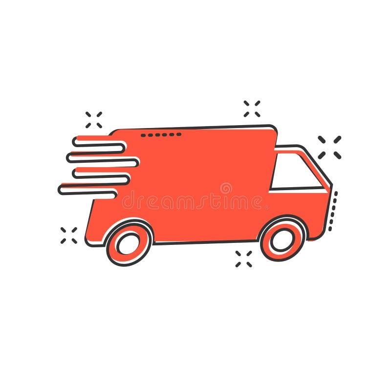 Vektortecknad filmlastbil, bilsymbol i komisk stil Snabb leveransser vektor illustrationer