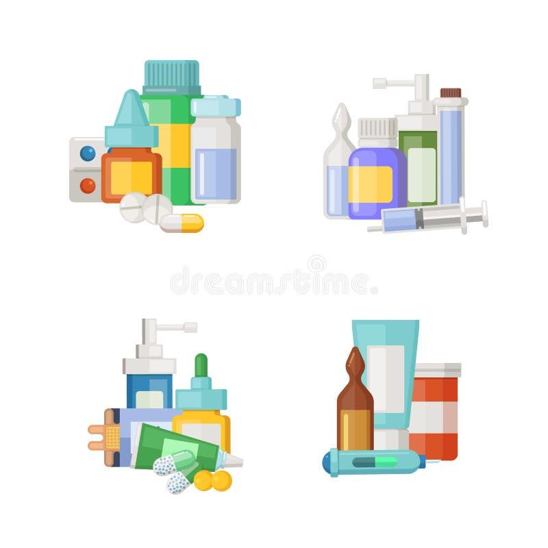 Vektortecknad filmmediciner, drycker och preventivpillerhögar ställde in royaltyfri illustrationer