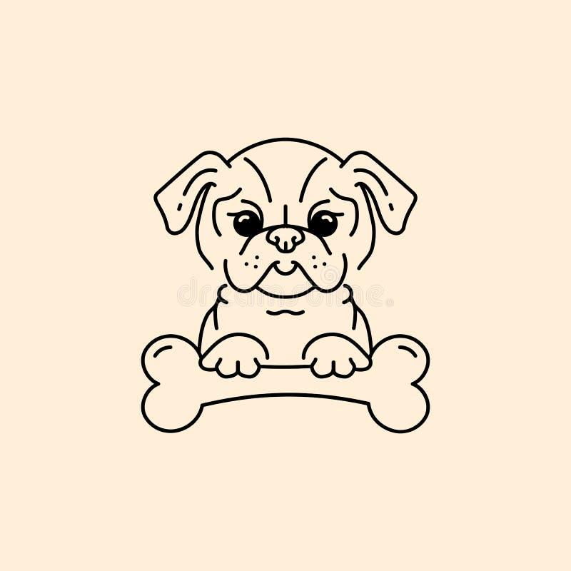 Vektortecknad filmmops, Mops-hunden med ett ben, bulldogglinje gör symbolen tunnare gullig valp vektor illustrationer
