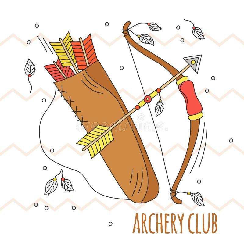 Vektortecknad filmpilbåge och pilar Bågskytteklubbaillustration Ungesommarlek Traditionell lek odla indier tecknad hand stock illustrationer