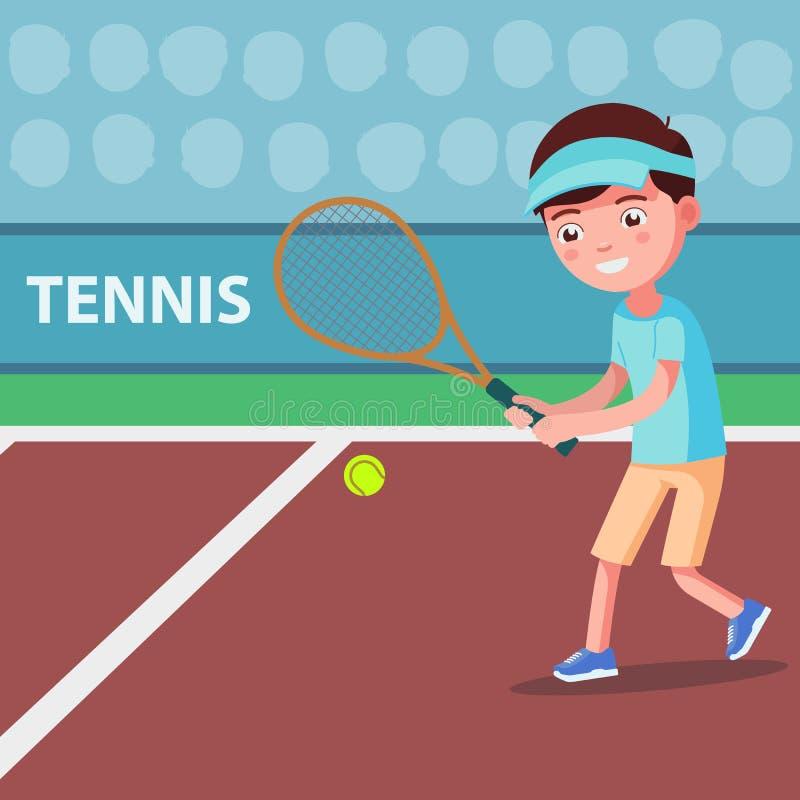 Vektortecknad filmpojke som spelar tennis på domstolen royaltyfri illustrationer