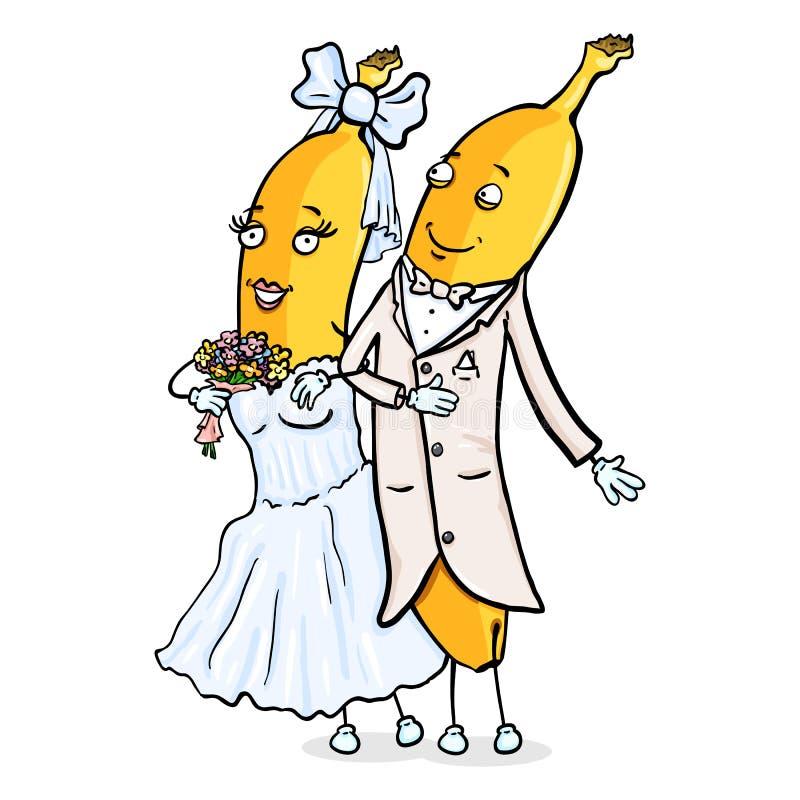 Vektortecknad filmtecken - gift par för banan precis bröllop för brudceremoniblomma Brudgum och brud vektor illustrationer