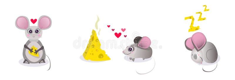 Vektortecknad filmtecken - uppsättning, samling Musen som rymmer ett stycke av ost, mus faller förälskat med ost, musdrömmar om c stock illustrationer