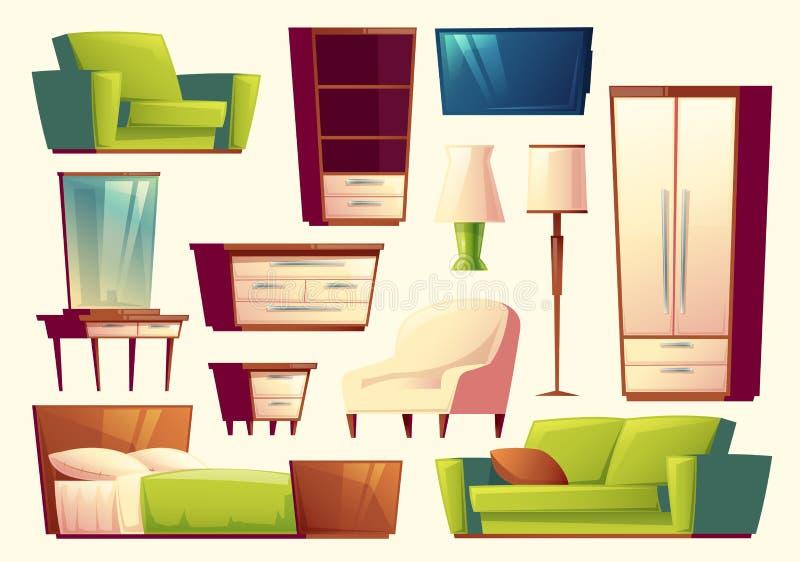 Vektortecknad filmuppsättning av möblemang - soffa, säng, garderob, fåtölj, torchere, tvuppsättning för sovrummet, vardagsrum iso stock illustrationer