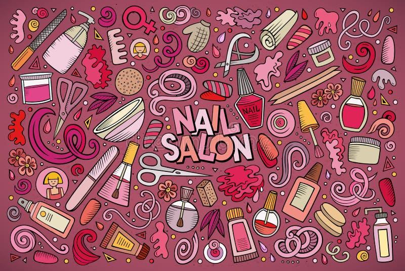 Vektortecknad filmuppsättningen av Nail salongtemat anmärker stock illustrationer