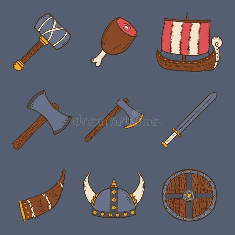 Vektortecknad filmviking symboler royaltyfri illustrationer