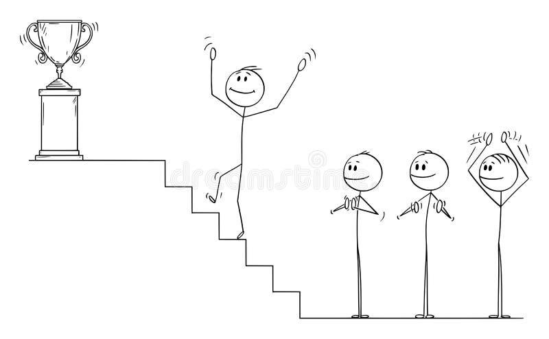 Vektortecknade filmen av affärsmannen Climbing Up trappan till för vinnarens trofé, affärslag applåderar royaltyfri illustrationer