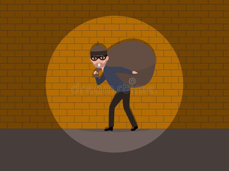 Vektortecknade filmen fångade en inbrottstjuv vid väggen stock illustrationer