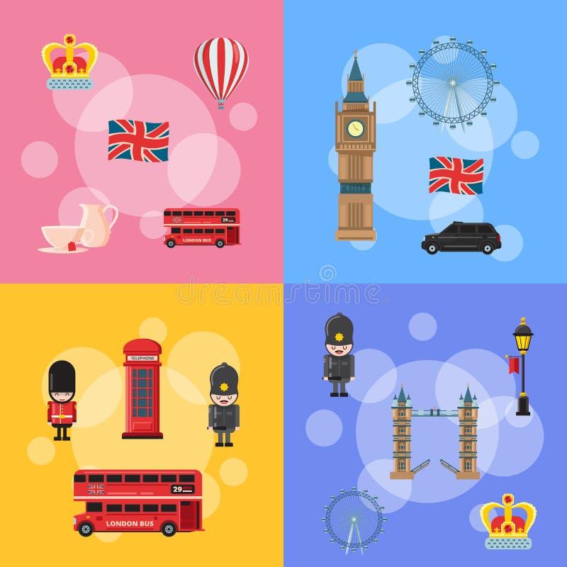 Vektortecknade filmen London siktar och anmärker begreppsillustrationen stock illustrationer