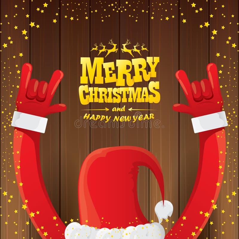 Vektortecknade filmen Santa Claus vaggar n-rullstil med guld- calligraphic hälsningtext på träbakgrund med jul vektor illustrationer