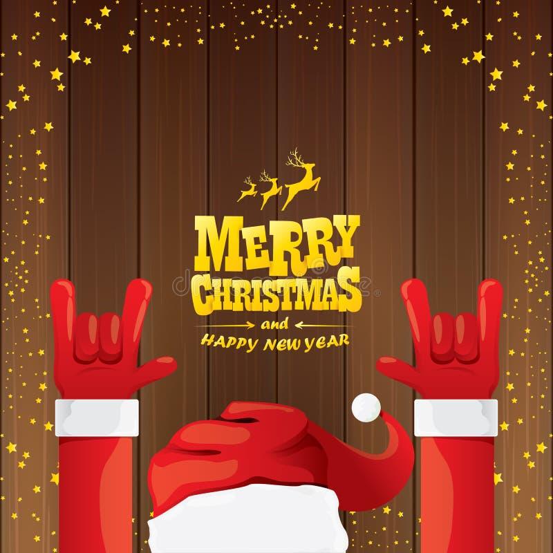 Vektortecknade filmen Santa Claus vaggar n-rullstil med guld- calligraphic hälsningtext på träbakgrund med jul royaltyfri illustrationer