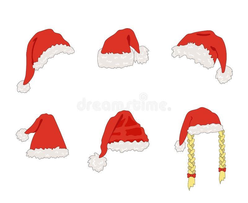 Vektortecknade filmen Santa Hats, juldesignbeståndsdel, ställde in isolerat stock illustrationer