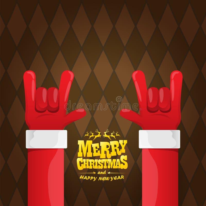 Vektortecknade filmen vaggar n rullar det Santa Claus teckenet med guld- calligraphic hälsa text på brun plädbakgrund glatt vektor illustrationer
