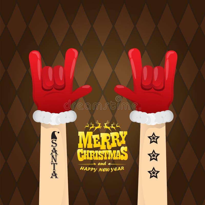 Vektortecknade filmen vaggar n rullar det Santa Claus teckenet med guld- calligraphic hälsa text på brun plädbakgrund glatt stock illustrationer