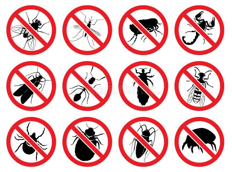 Vektortecknet stoppar för det skadligt och att sticka och parasitera kryp stock illustrationer