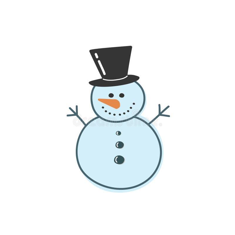 Vektorteckning av en blå snögubbe i stilen av ett klotter Illustration vid handen royaltyfri illustrationer
