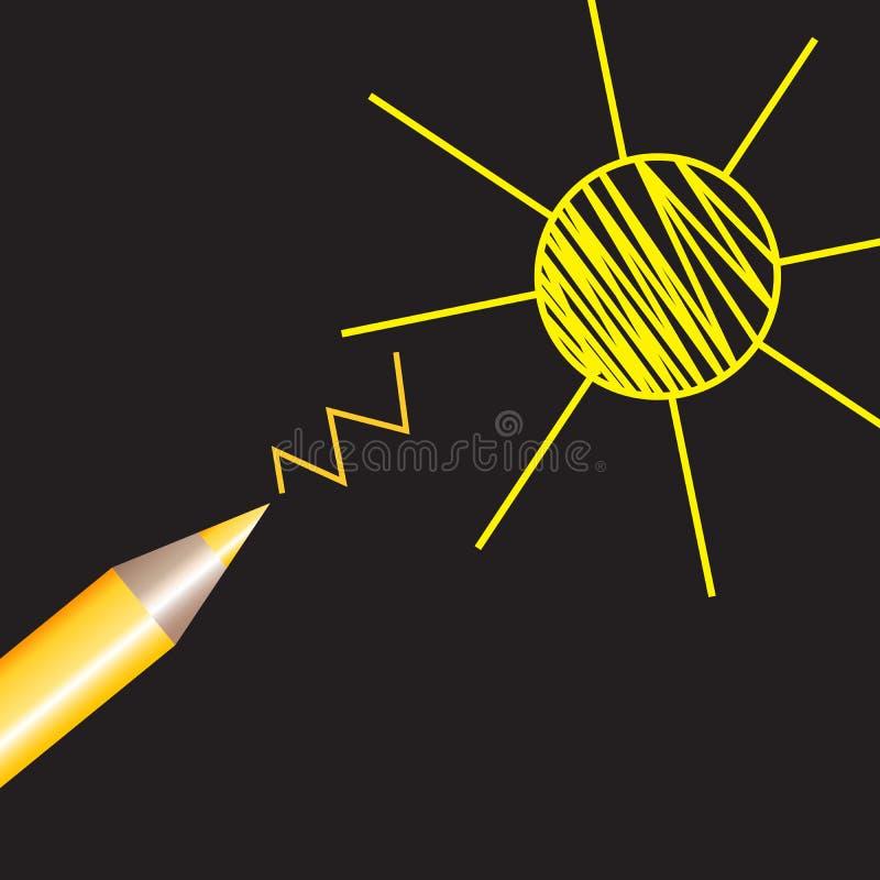 Vektorteckning av en blyertspennateckning av solen Varma linjer royaltyfri illustrationer