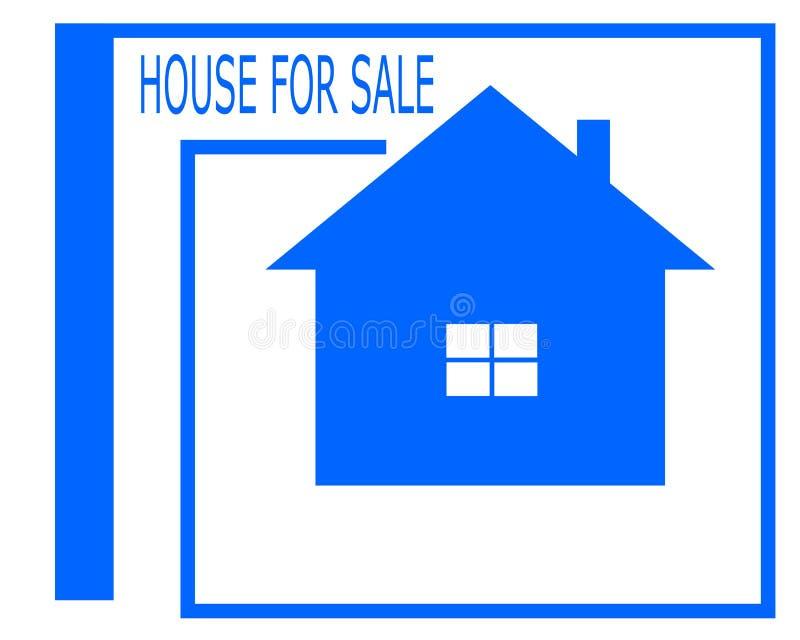 Vektorteckning av en till salu logo för hus royaltyfri illustrationer