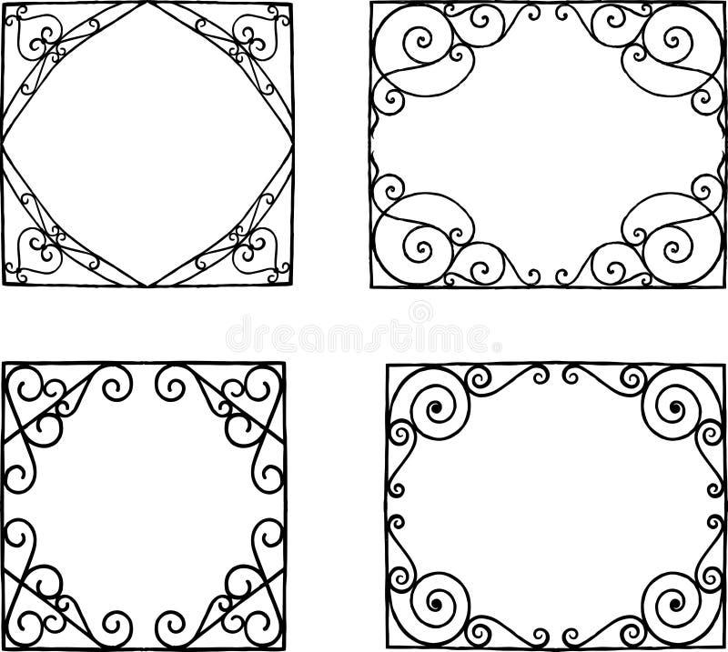 Vektorteckning av en uppsättning av dekorativa ramar i stil av jugendstilen stock illustrationer