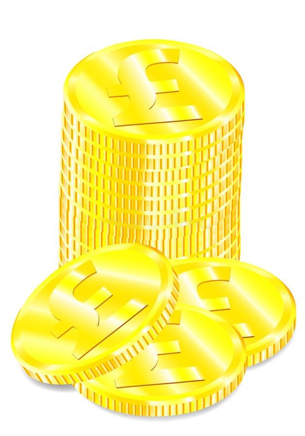 Vektorteckning av fastställda guld- mynt med pundsymbol stock illustrationer