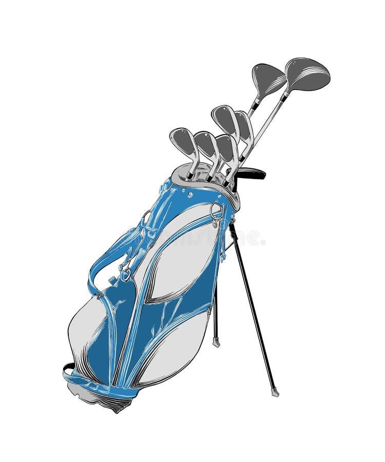 Vektorteckning av golfpåsen i färg som isoleras på vit bakgrund r Dra f?r royaltyfri illustrationer