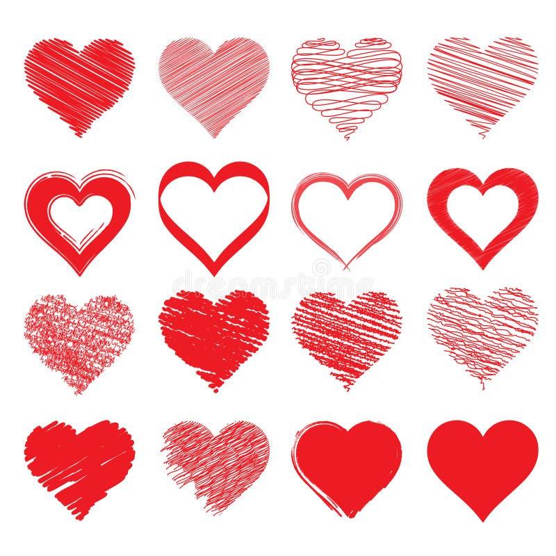 Vektorteckning av hjärtan Ett symbol av förälskelse stock illustrationer