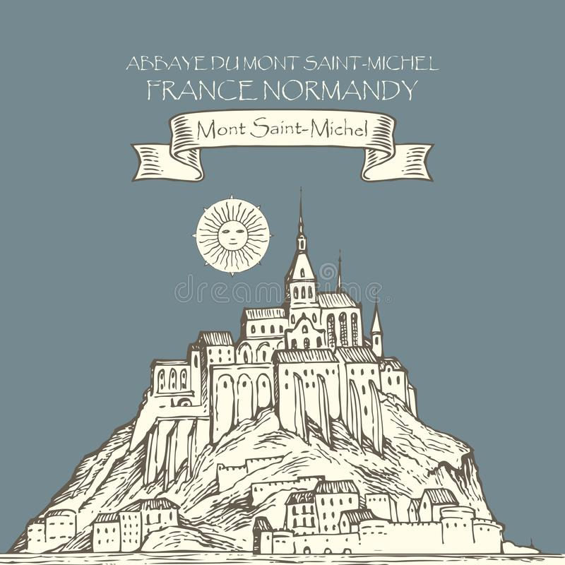 Vektorteckning av Mont Saint Michel, Frankrike stock illustrationer