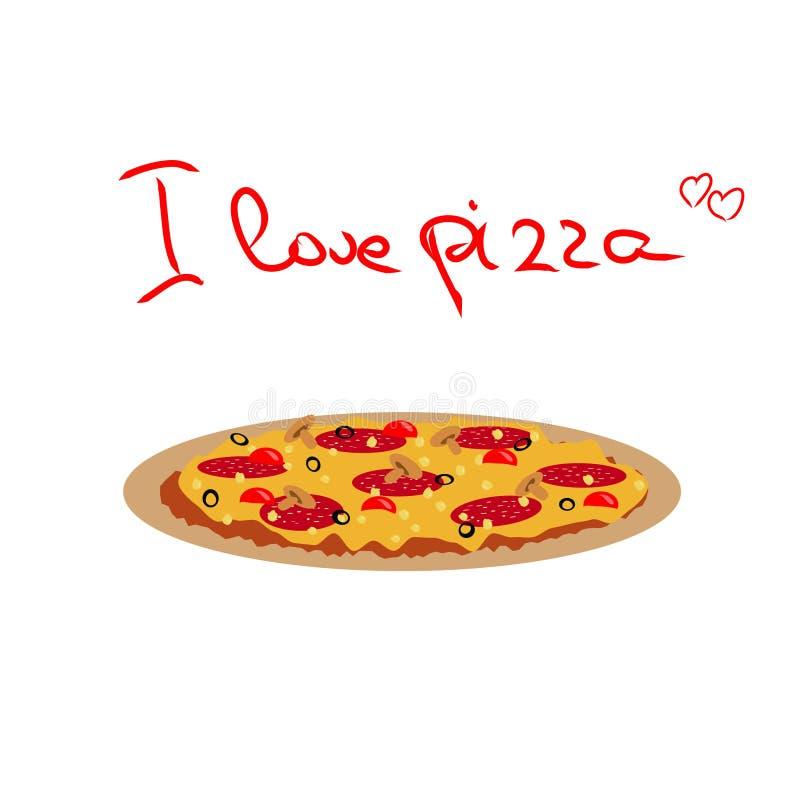 Vektorteckning av pizza med salami, svarta oliv, champinjoner och vektor illustrationer