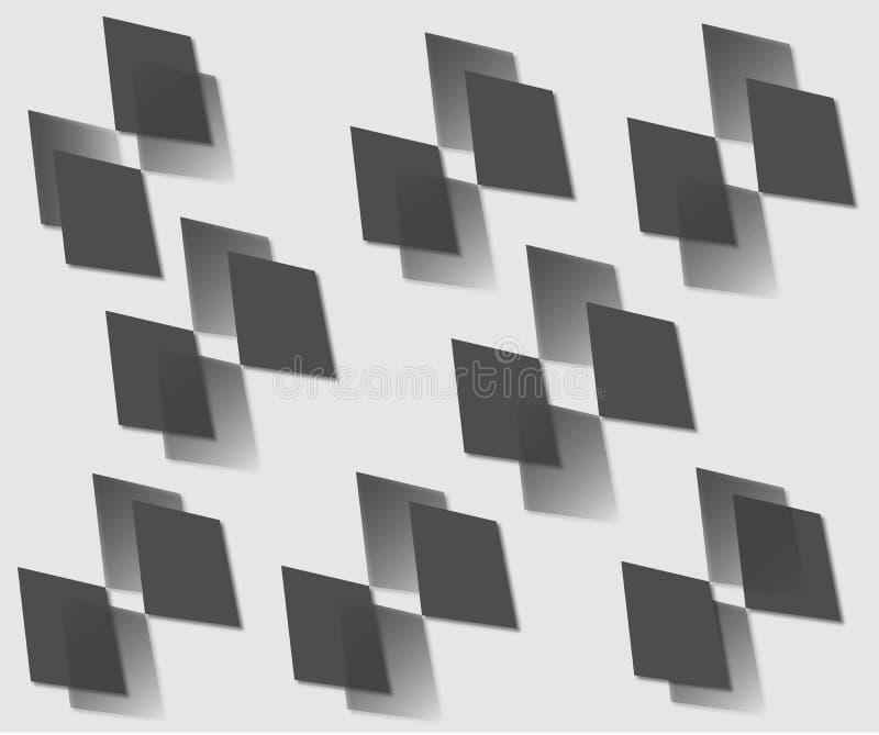 Vektorteckning av svarta diamanter stock illustrationer