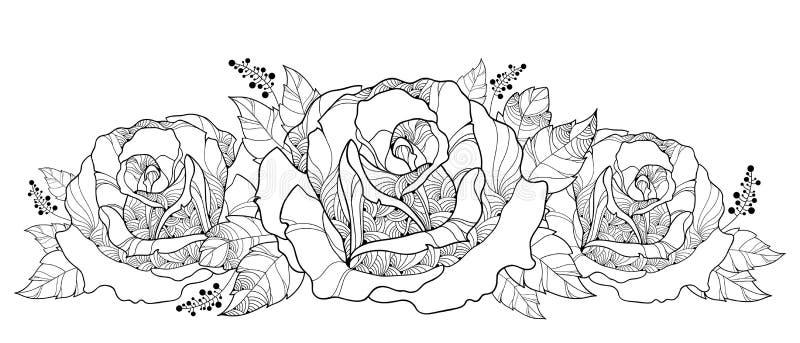 Vektorteckning med buketten av översiktsrosblomman som isoleras på vit bakgrund Blom- beståndsdelar med rosor och sidor i kontur stock illustrationer