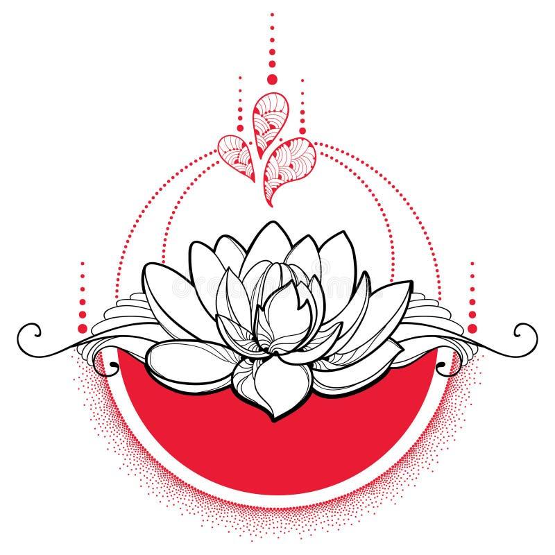 Vektorteckning med den översiktssvartLotus blomman, röda prickar och virvlar som isoleras stock illustrationer